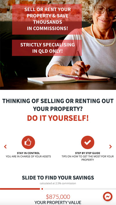 diy property sales and rentals mobile friendly banner