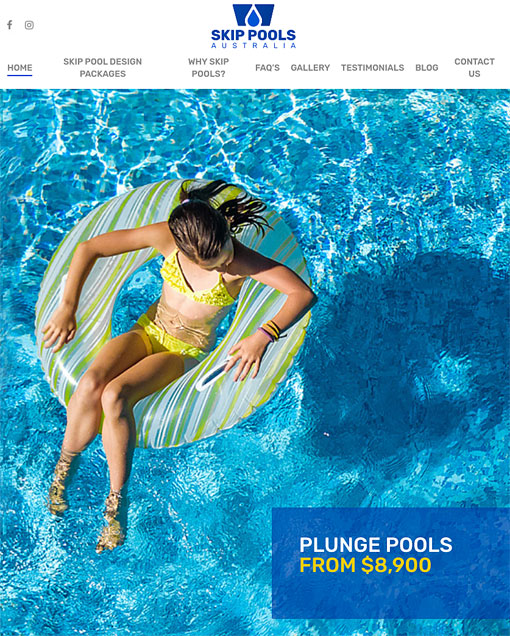 skip pools website banner